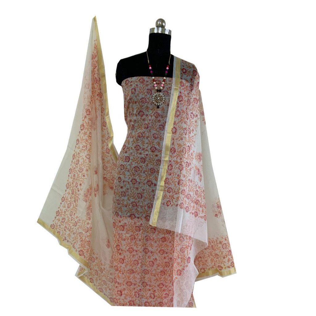 Kota Doria Premium Unstitched  Kurta And Dupatta Fabric
